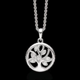 Sølv halskæde rhodineret rund med livets træ og syntetiske cubic zirconia. Kæden er rhodineret sølv i længde 42-45 cm.