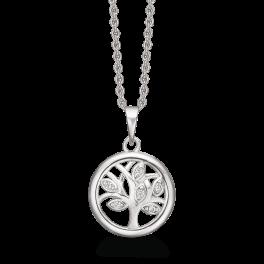 Sølv halskæde rhodineret livets træ i cirkel med ovale blade med syntetiske cubic zirconia. Kæden er rhodineret sølv i længde 42-45 cm.