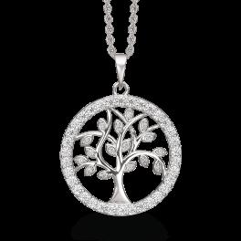 Sølv halskæde rhodineret Livets træ med syntetiske cubic zirconia i ring omkring. Kæden er rhodineret sølv i længde 42-45 cm.