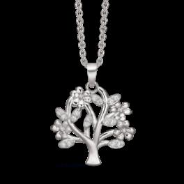 Sølv halskæde rhodineret livets træ med syntetiske cubic zirconia. Kæden er rhodineret sølv i længde 42-45 cm.
