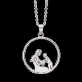 Mor og barn halskæde rund i sølv