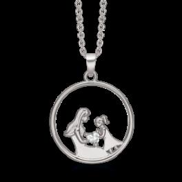 mor og datter halskæde i sølv