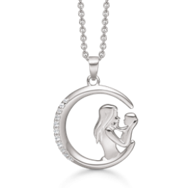 mor og barn halskæde, åben cirkel i sølv med zirconia sten