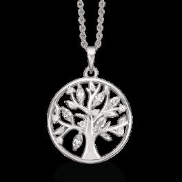 Sølv halskæde rhodineret livets træ i cirkel med blade af syntetiske cubic zirconia. Kæden er rhodineret sølv i længde 42-45 cm.