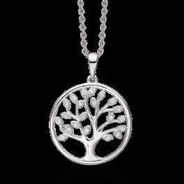 Sølv halskæde rhodineret livets træ hvor bladene er syntetiske cubic zirconia. Mål: 20 mm. Kæden er rhodineret sølv i længde 42-45 cm.
