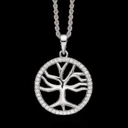 Sølv halskæde rhodineret livets træ med syntetiske cubic zirconia i cirkel kanten Kæden er rhodineret sølv i længde 42-45 cm.