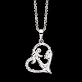 Sølv halskæde rhodineret Hjerte med mor og barn. Venstre side med syntetisk cubic zirconia Kæden er rhodineret sølv i længde 42-45 cm.