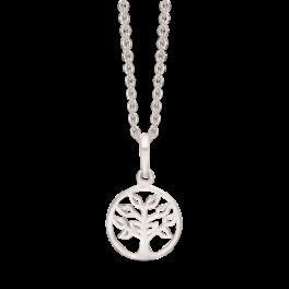 """Sølv halskæde rhodineret livets træ i cirke """"Tree of life"""" Mål 12 mm. Kæden er rhodineret sølv i længde 42-45 cm."""