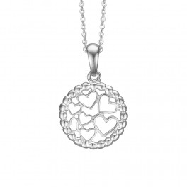 Sølv halskæde med vedhæng med små hjerter i cirkel Ø14 mm