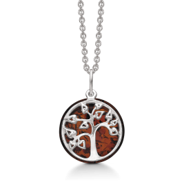Sølv halskæde rhodineret livets træ med rav. Kæden er rhodineret sølv i længde 42-45 cm.