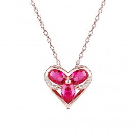 Sølv halskæde i rosaforgyldt med hjerte vedhæng med zirconia stene.