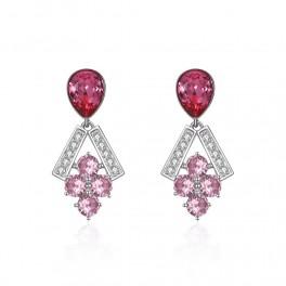 Ørehængere, sterling sølv med pink østrigsk krystal EJEW-BB34011-02