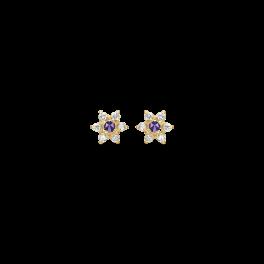 8 kt. guld ørestikker rosét med ametyst og 6 syntetiske cubic zirconia.