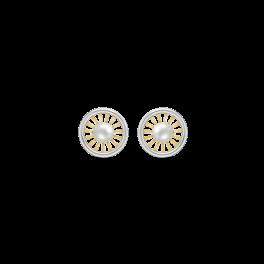 8 kt. guld ørestikker Cirkel med streger og ferskvandsperle i midten.
