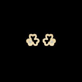 8 kt. guld ørestikker rhodineret trekløver med syntetisk cubic zirconia