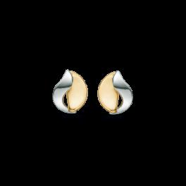8 kt. guld ørestikker halvcirkel med bue ind over. 1 rhodineret og 1 blank.