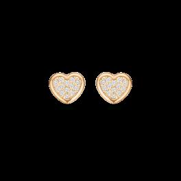 8 kt. guld ørestikker hjerte fyldt med syntetiske cubic zirconia.