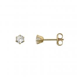 8 kt. guld ørestikker 3 mm syntetisk cubic zirconia i 6 grabber.