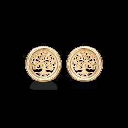 Livets Træ8 kt. guld ørestikker cirkel med livets træ. Mål: 11,7 mm. i diameter.