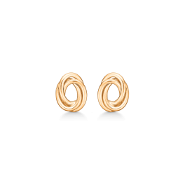 8 kt. guld ørestikke 2 ovale ringe