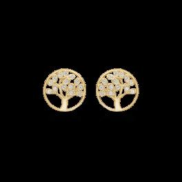 Livets Træ 8 kt. guld ørestikker60242773