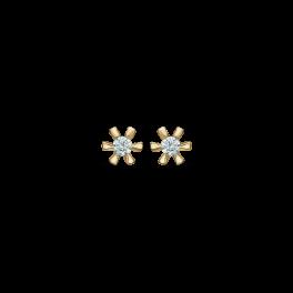 8 kt. guld ørestikker med 1 syntetisk cubic zirconia i 6 grabber. Dette fåes også som smykkesæt (ørestikker & ring)