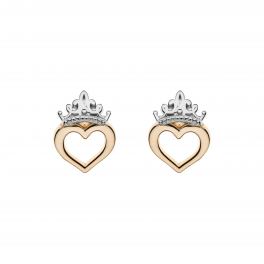 Disney Princess9 kt. guld ørestikker krone med hjerte.
