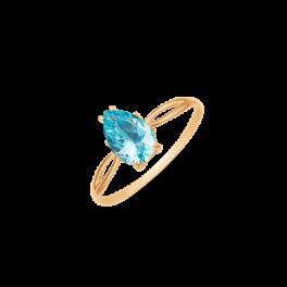 8 kt. guld ring spids oval blå topas.