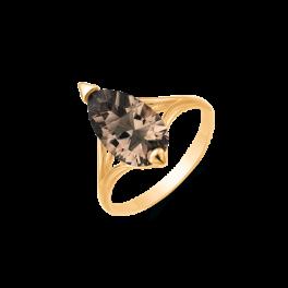 8 kt. guld ring spids oval røg kvarts.
