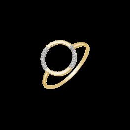 8 kt. guld ring cirkel med syntetiske cubic zirconia forskudt. Mål: 0,90 mm.
