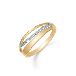 8 kt. Guld ring med 2 buer 1 bue i guld og 1 bue med 20 zirconia stene.