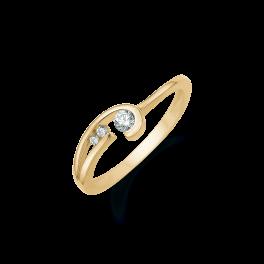 8 kt. Guld ring cirkel med buet pind med 3 syntetisk cubic zirconia.
