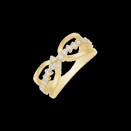 8 kt. Guld ring oval med syntetiske cubic zirconia.. Dette fåes også som smykkesæt (Halskæde, ørestikker & ring)