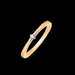 8 kt. guld ring tråd med 1 syntetisk cubic zirconia.