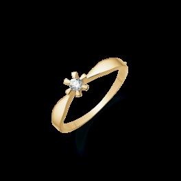 8 kt. guld ring med 1 syntetisk cubic zirconia i 6 grabber. Der fåes også ørestikker til denne smukke ring.