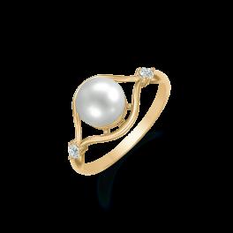 8 kt. guld ring stor perle i tynd kant med 2 små syntetiske cubic zirconia. Dette fåes også som smykkesæt (Halskæde, ørestikker & ring)