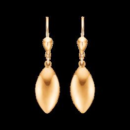 8 kt. guld ørehænger med blankt flad dråbe.