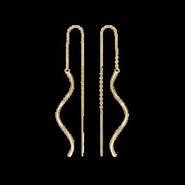 8 kt. guld ørehænger rør på kæde.