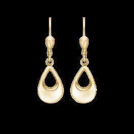 8 kt. guld ørehænger flad dråbe med hul i midten.
