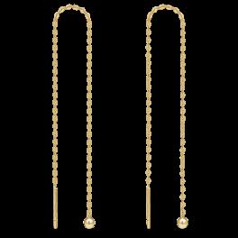 8 kt. guld ørehænger 1 kugle på kæde. Mål 100 mm.