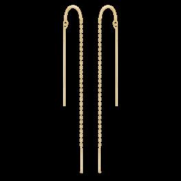 8 kt. guld ørehænger pind på kæde. Mål 90 mm.