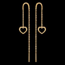 8 kt. guld ørehænger hjerte med kæde. Mål hjerte:8,06 x 7,52 mm.