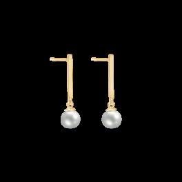 8 kt. guld ørehænger flad stang med ferskvandsperle. Mål: 14,80 x 4,0 mm.
