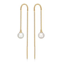 8 kt. guld ørehænger bue med veneziakæde og ferskvandsperle.