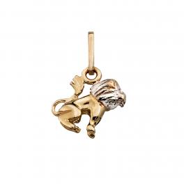 Stjernetegn vedhæng, Løve i massivt 8 karat guld og hvidguld med rhodium.