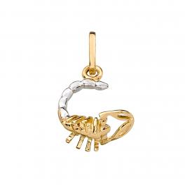 Stjernetegn vedhæng, Skorpion i massivt 8 karat guld og hvidguld med rhodium.
