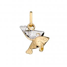 Stjernetegn vedhæng, Fisk i massivt 14 karat guld og hvidguld med rhodium.