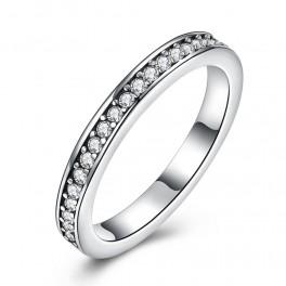 Smalt sølv ring med zirconia stene
