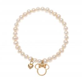 Disney9 kt. guld armbånd med guld hjerte og Minnie Mouse med rosa sløjfe.