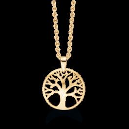8 kt. guld halskæde livets træ. Mål: 14 mm. i diameter. Kæden er sølvforgyldt i længde 42-45 cm.
